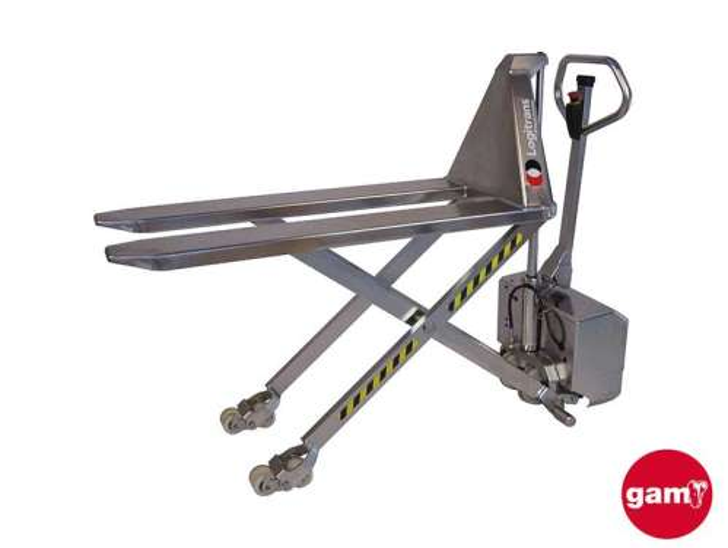 Transpaleta de tijera eléctrica inoxidable 1500 kg Logitrans EHLI Plus